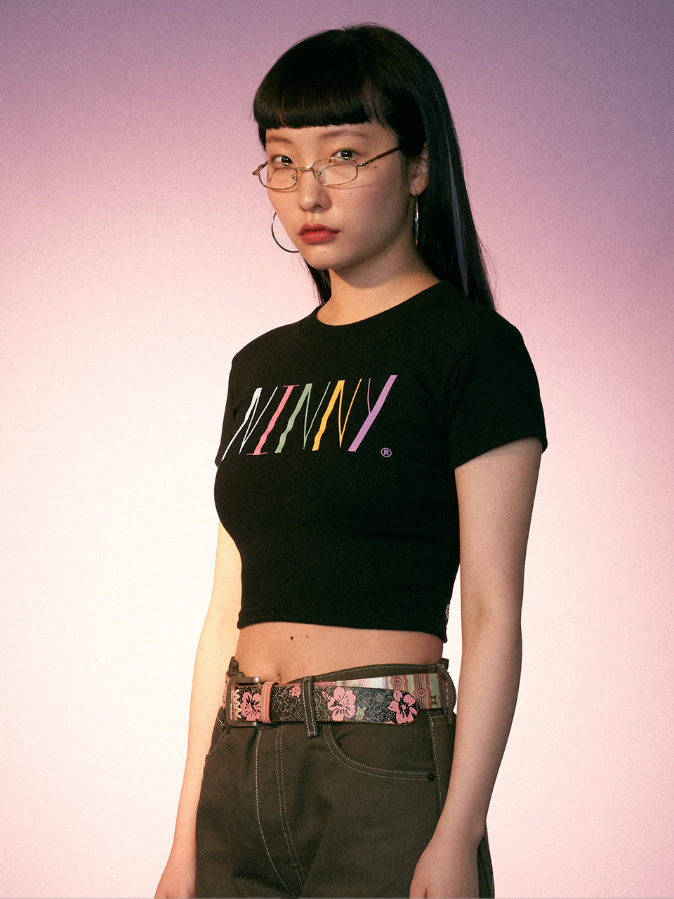 (CTC2) NINNY RAINBOW LOGO CROP TOP BLACK